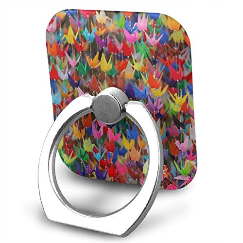 Phone Ring Finger Holder, Square Origami Paper Cranes Printed Universal Smartphone Holder Stand, Cell Phone Ring Finger Holder Grip Almost All Phones/Pad