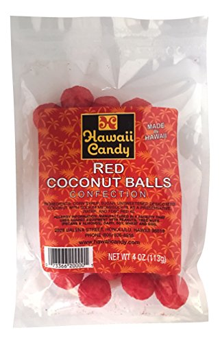 Hawaii Candy Red Coconut Balls (Red Coconut Balls, 1 - 4 oz. packages)