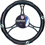15 X 15 Inches NFL Dolphins Steering Wheel Cover, Football Themed Three Sides Team Logo Name Rubber Grip Sports Patterned, Team Logo Fan Merchandise Athletic Team Spirit, Orange Blue White Black, Pvc
