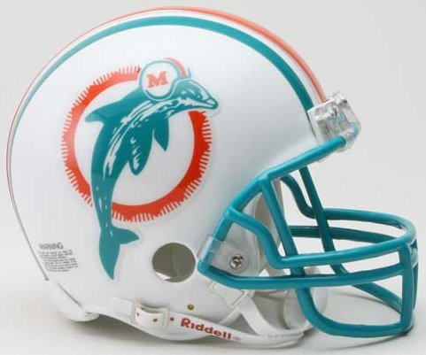 Riddell Miami Dolphins Mini Replica Throwback Helmet (Mini Throwback Football Helmet)