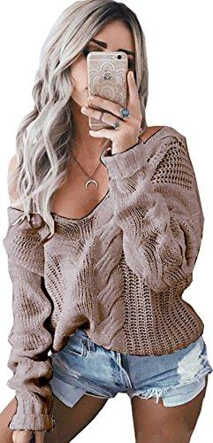 Meyison Pullover Damen Off Schulter Langarm Strickpullover Frauen Tops  Pullover Weiss Schwarz Rot Kaffee Kaffee 3T8ohtHt5b 90eb3e1099
