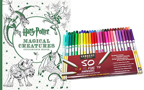 Harry Potter Magical Creatures Coloring Book & 50 Sargent Art Fine Tip Marker Pens Kit, Gift Set – Color Your Favorite Magical Hogwarts Scenes, Objects & Creatures - For Adults & Kids