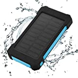 FLOUREON 10,000mAh Solar charger Power Bank Portable Phone Charger External Battery Charger with Dual 2.1A USB LED Flashlight Output Charging for iPhone X/8/7/ 6s Plus, Samsung Galaxy S8/ S7/ S6 and M