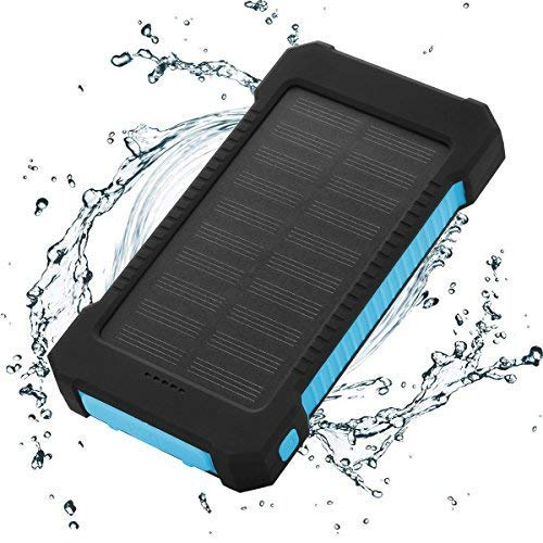 FLOUREON 10,000mAh Solar Charger Power Bank Portable Phone Charger External Battery Charger with Dual 2.1A USB LED Flashlight for iPhone X/8/7/ 6s Plus, Samsung Galaxy S8/ S7/ S6 and More (Blue)
