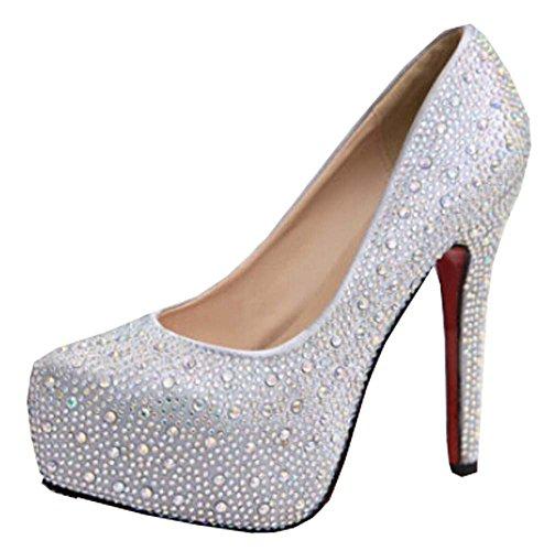 2015 heißen Frauen des Verkaufs High Heels Abschlussball-Hochzeitsschuhe Dame Kristall Plattformen silver Glitter Strass dünne Ferse beliebt Party Pumpe