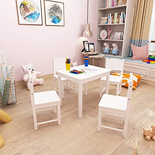 Timy Wooden Kids Table and 4 Chairs Set, Kids Furniture Toddler Table Play Room for Eating, Reading, Playing White