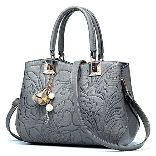 Bolso de Hombro simple señoras bolso bolso, gris Gris