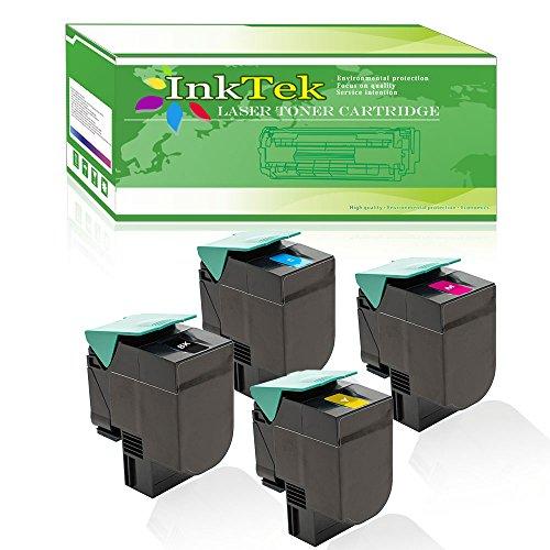 InkTek 4 Pack of Set (1 Black, 1 Cyan, 1 Magenta, 1 Yellow) Compatible for Lexmark C544dn C544n X544dn X544n Toner Cartridge, [C540X2KG, C540H2CG, C540X2MG, C540X2YG] Color Toner Cartridge
