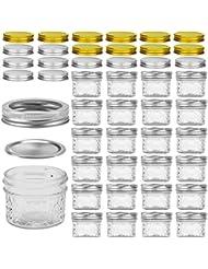 VERONES Mason Jars Canning Jars, 4 OZ Jelly Jars With Regular Lids and Bands, Ideal for Jam, Honey, Wedding Favors, Shower Favors, Baby Foods, DIY Magnetic Spice Jars, 25 PACK, Extra 20 Lids.