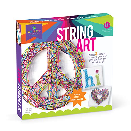 Craft-tastic - String Art Kit - Craft Kit Makes 3 Large String Art Canvases - Peace Sign Edition