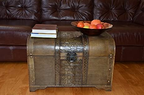 Large Brown Old Fashion Wood Storage Trunk Wooden Treasure Chest