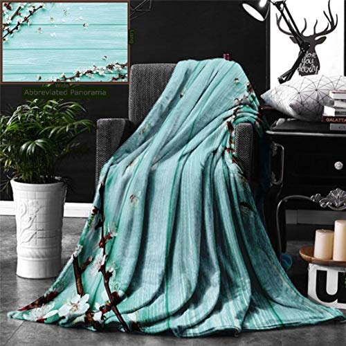 (Unique Custom Double Sides Print Flannel Blankets Mint Spring Cherry Blossom Petals Branch On Rustic Wooden Planks Seasonal Picture Whit Super Soft Blanketry for Bed Couch, Twin Size 70 x)