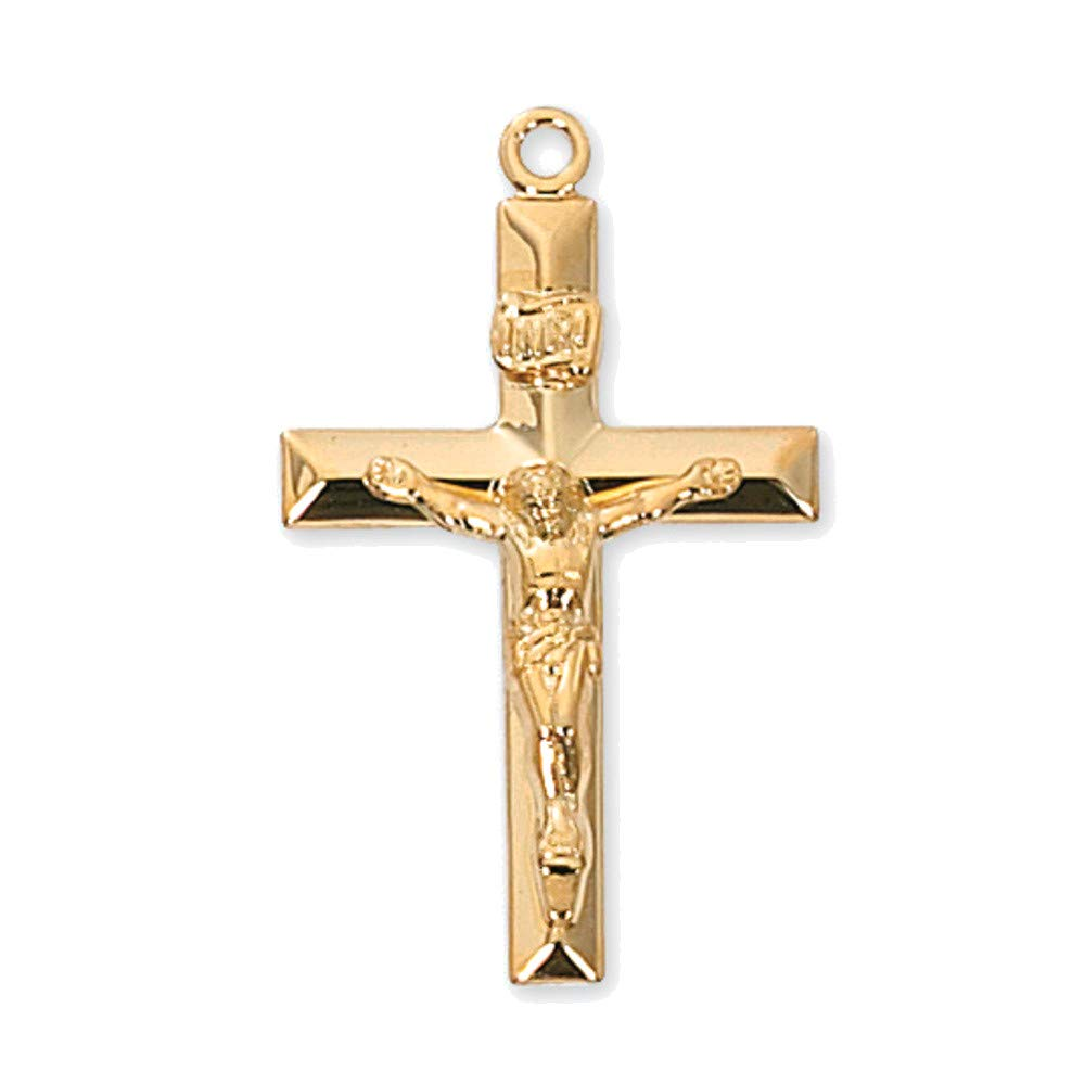 Bonyak Jewelry Gold Over Sterling Silver Crucifix with 24 in Gold Plated Brass Chain and Deluxe Gift Box