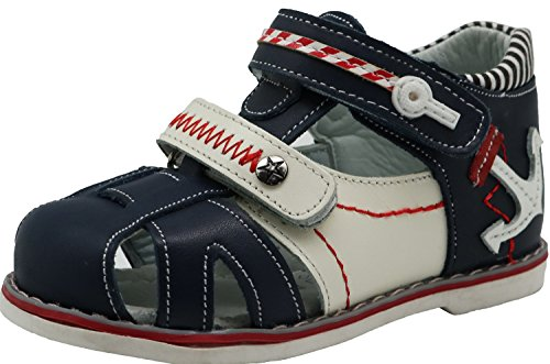 Apakowa Toddler Boy's Double Adjustable Strap Closed-toe Geniune Leather Sandals with Arch Support ( Color : Navy , Size : 6.5 M US Toddler (Navy Blue Double Arch)