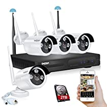 TMEZON Better Than 720P 4CH 960p HD Wireless Security Camera System with 4x HD WiFi Day Night Vision Outdoor IP Cameras (1.3MP, IP66, 80ft IR, 2TB HDD)