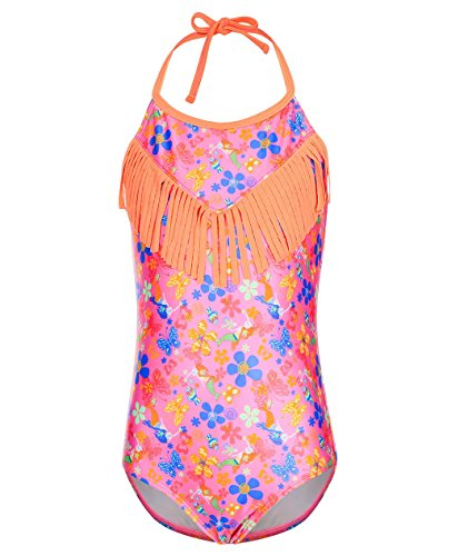 BELLOO Girl's Fringe One Piece Swimsuit, Adjustable Straps Bathing Suit, Flower, (14-16) (Straps Fringe)