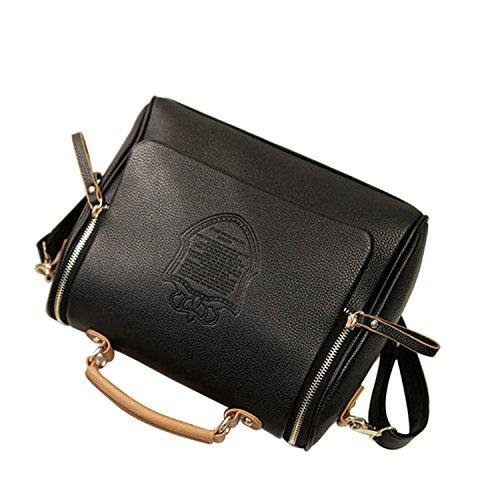 Las mujeres las niñas PU cuero bandolera bolso bandolera bolsos bolso de mano negro Negro