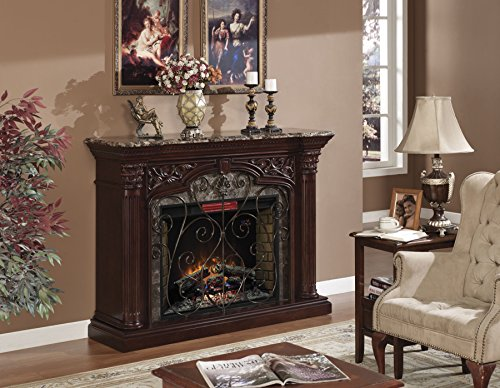 ClassicFlame 33WM0194-C232 Astoria Wall Fireplace Mantel, Empire Cherry (Electric Fireplace Insert sold separately) Capital Fluted Pilasters