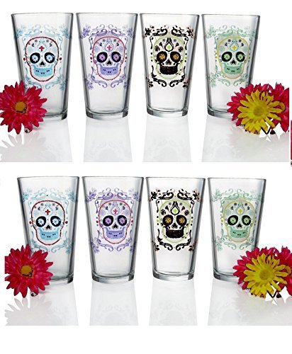Luminarc Sugar Skulls Assorted Decorated Pub Glasses  Set Of 4   16 Oz  Clear By Luminarc