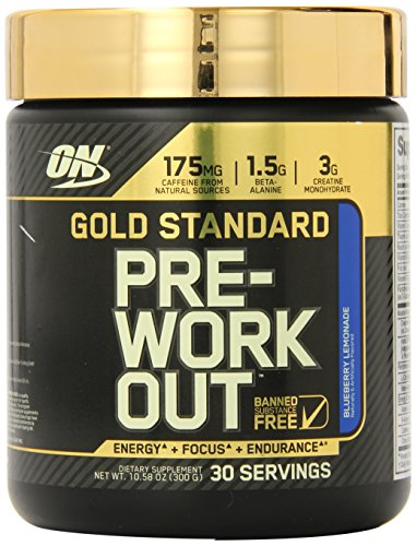 Optimum Nutrition Gold Standard Pre-Workout 30 Serve Supplement Blueberry Lemonade 300 Gram