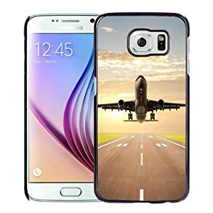 Beautiful Unique Designed Samsung Galaxy S6 Phone Case With Jet Plane Taking Off_Black Phone Case