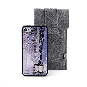 CaseCityLiu - The Magpie Claude Monet Oil Painting Design Black Bumper Plastic+TPU Case Cover for Apple iPhone 4 4s 4th 4g 4Generation Come With FREE Non Woven Packing Bag