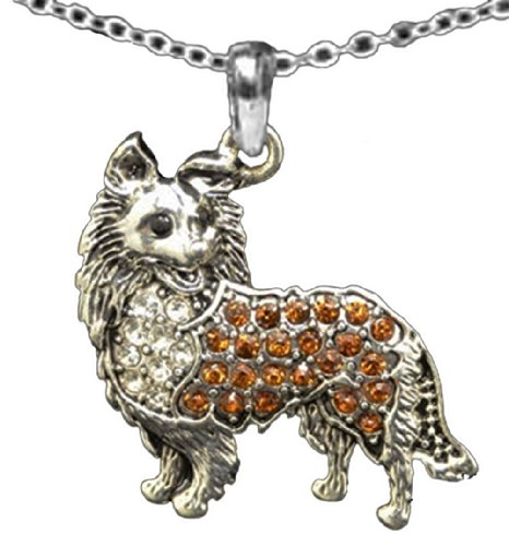 From the Heart Collie,Pomeranian or Long Hair Chihuahua Brownish Orange Crystal Rhinestone 1 inch Dog Charm on 18 inch Chain.