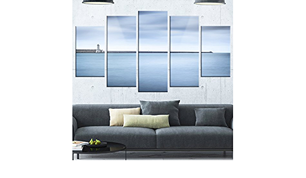 Amazon Com Designart Breakwater And Soft Water Under Clouds Oversized Landscape Glossy Metal Wall Art 40x30 Blue Posters Prints