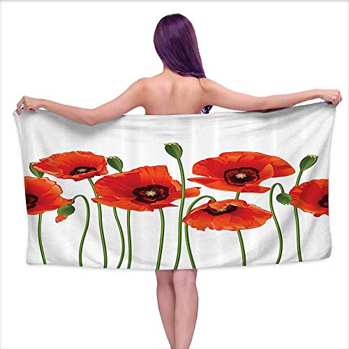 (Glifporia Bath Towel Sets for Bathroom Floral,Poppies of Spring Season Pastoral Flowers Botany Bouquet Field Nature Theme Art,Orange Green,W10 xL39 for Bathroom Striped)
