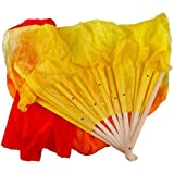 Fashion Colorful 1.5M Hand Made Belly Dance Dancing Silk Bamboo Long Fans Veils