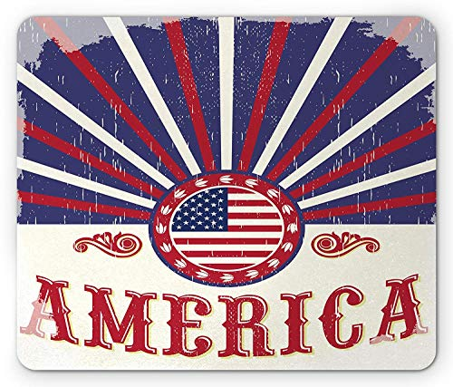 Veteran Mouse Pad, Western Style America Text and Circle Framed US Flag on Semi Beam Background, Standard Size Rectangle Non-Slip Rubber Mousepad, Red White Indigo
