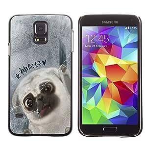 SHIMIN CAO- Dise?o Caso duro de la cubierta Shell protector FOR Samsung Galaxy S5 I9600 G9009 G9008V- Pug Dog PUPPY Pet