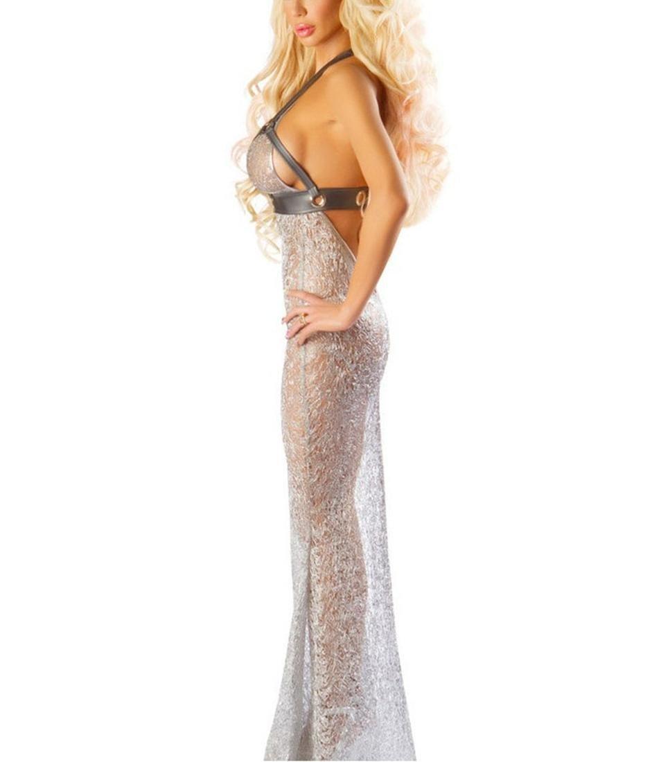 XGG Mujeres Sexy Hilo de Fiesta Plata Perspectiva Vestido de Sirena Traje de Fiesta de Cosplay Etapa, m 428e00