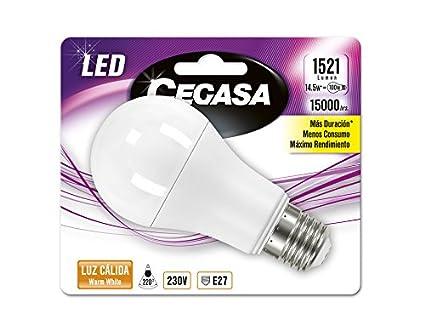 Cegasa Bombillas LED con Luz Cálida 2700K E27, 14.5 W, Blanco 120x60x60 cm: Amazon.es: Iluminación