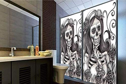 Horrisophie dodo 3D Privacy Window Film No Glue,Skull,y Skull Girl with Floral Veil Ceremony Day of The Dead Bride Skeleton Lady Art,Grey White,70.86