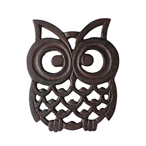 Cast Iron Owl Pot Trivet - Decorative Metal Owl Trivets for Hot Dishes Kitchen Counter or Dining Table Vintage, Rustic, Artisan Design - Antique Replica Rust Color PTZD007GM