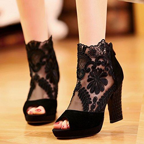 ae3ac053 Durable Modelando QIANDA Sandalias Mujer Zapatos De Verano Diseño Perforado  Tacón Negro Cremallera Suela TPR Antideslizante