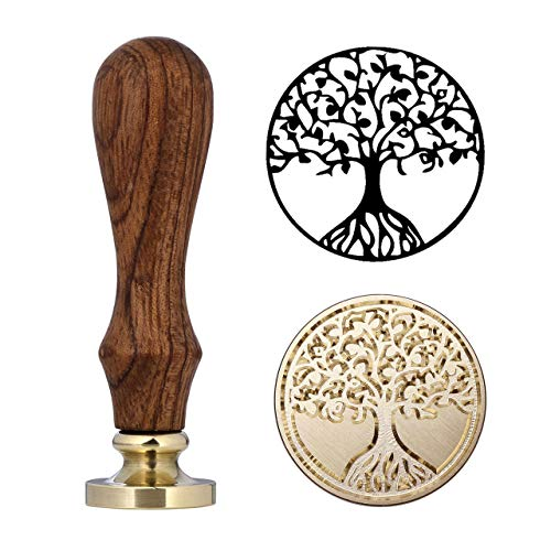 Tree of Life Wax Seal Stamp, Mornajina Vintage Retro Sealing Wax Stamp with Wooden Handle, for Seal and Decorate Cards, Envelopes, Wedding Invitations and Gift etc