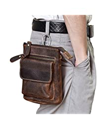Men's Genuine Leather Waist Pack Small Messenger Bag Cow Leather Bum Bag (Brown2)