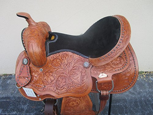 15 16 BEAUTIFUL BARREL RACING RACER SHOW COWBOY RANCH PLEASURE TRAIL FLORAL TOOLED LEATHER WESTERN HORSE SADDLE (15) (Billy Cook Barrel Racer)