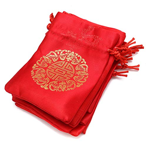 JETEHO 10 Pack 5.5''x3.9'' Red Chinese Brocade Purse Pouch Jewelry Pouch Silk Drawstring Bag for Wedding,Candy Bags Birthday