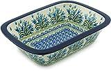Polish Pottery Rectangular Baker 10-inch Feathery Bluebells made by Ceramika Artystyczna