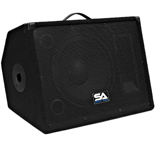 Seismic Audio - Single 12'' Floor Monitors Studio, Stage, or Floor use - Pole Mount for  PA/DJ Speakers - Bar, Band, Karaoke, Church, Drummer use by Seismic Audio