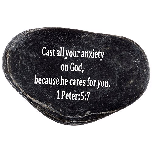 Stone Scripture (Engraved Inspirational Scripture Biblical Black Stones collection - Stone II : 1 Peter 5:7 :