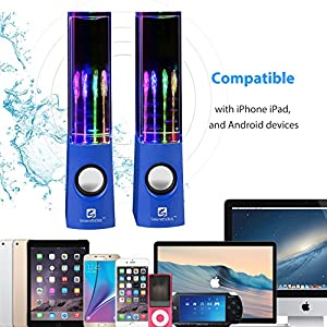 SoundSOUL Water Dancing Speakers Light Show Water Fountain Speakers LED Speakers (3.5mm Audio Plug, 4 Colored LED Lights, Portable Speakers,perfect gift for your in Thanksgiving /Christmas) -Blue
