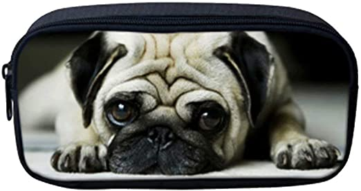 Lazy Dog Pug Print Pencil Bag Case Durable Canvas Stationery Pouch for Boys Girls Zipper Big Capacity Makeup Cosmetic Bag