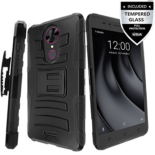 T-Mobile REVVL Plus Case With Tempered Glass Screen Protector,IDEA LINE(TM) Heavy Duty Armor Shock Proof Dual Layer Holster Locking Belt Swivel Clip with Kick Stand - - T Mobile Phones