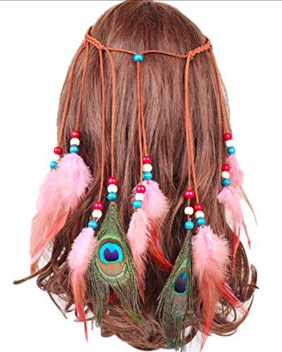 Price comparison product image P-LINK Headwear Feather Fascinator Headband Tassels Hair Band Women Girls Hairbands Tassel Rope Hemp Hippie Dreamcatcher Headdress Boho Native American (Type-D)