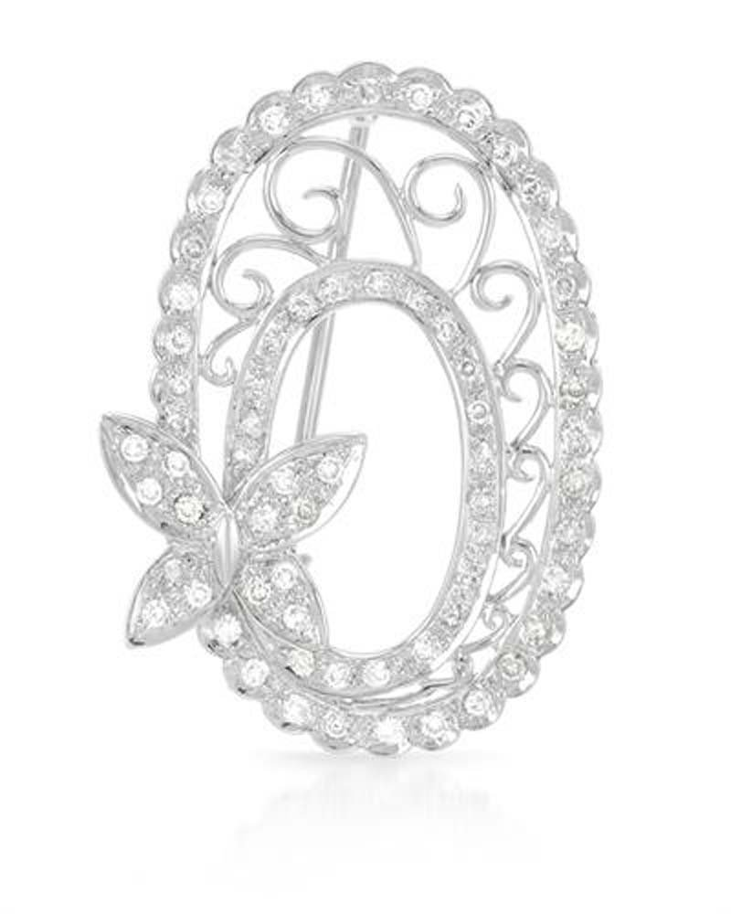HOLIDAY SALE!!! 18K White Gold Round Brooch (0.73 ctw , K Color, I2 Clarity)