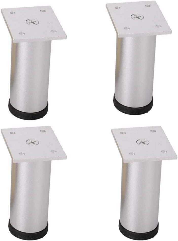 Muebles de plata del cojín del pie del pie de aluminio Gabinete Gabinete Gabinete de baño Gabinete de TV Mesa de café zapato patas de la cama ortopédica de Gabinete de la pierna, 4 piezas,25cm